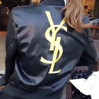 YSL Fashion Women Embroidery Logo Leather Long Sleeve Cardigan Jacket Coat G-Y-GXYAL
