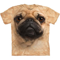 PUG FACE by The Mountain Big Funny Dog Head T-Shirt NEW!