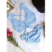 Halter Crochet Set with Ruched Bottom in Blue