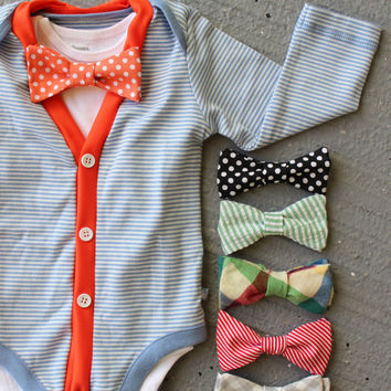 Cardigan and Bow Tie Onesuit Set - Trendy Baby Boy - Orange and Blue