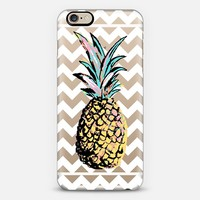 Pastel Party Pineapple White Chevron Transparent iPhone 6 case by Organic Saturation | Casetify