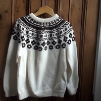Vintage icelandic knit style / handmade / winter sweater / jumper / womens clothing / cream / Dolly Topsy Etsy UK