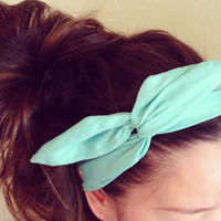Solid Turquoise Dolly Bow Headband