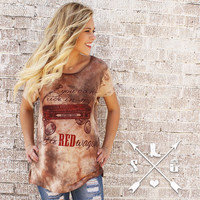 Southern Grace You Can't Ride In My Little Red Wagon Short Sleeve T-Shirt on Brown Tye Dye