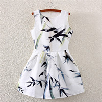Bamboo Print Crew Neck Sleeveless Skater Dress