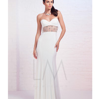 LM by Mignon AL3155 White Sweetheart Illusion Two Piece Dress 2015 Prom Dresses