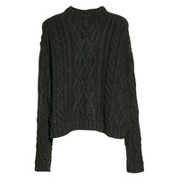 Buy Mango Cable Knit Wool Blend Jumper, Black | John Lewis