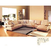 Luxurious Modern Leather 6 Seater Sectional Sofa+Chaise