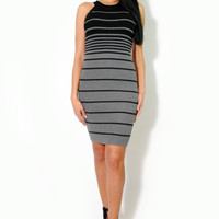 (alt) Gradient gray stripes knit silhouette dress