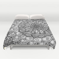 Shades of Grey - mono floral doodle Duvet Cover by Micklyn