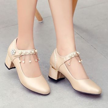 Ankle Straps Rhinestone Pearl Women Chunky Heel Pumps 9891