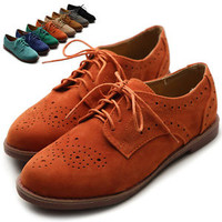 ollio Women's Lace Up Wing Tip Shoes Dress Low Heel Multi Color Oxfords flats