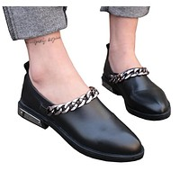 New Flats Women Four Seasons 2017 Casual black Shoes pointed Women Flat Leather shoes Fashion Leather Flats Women Oxford Shoes