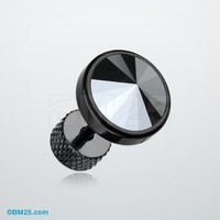 Blackline Pointy Faceted Crystal Fake Plug Earring