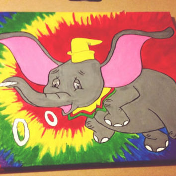 Tie-Dye Disney Character Smoking Canvas Painting