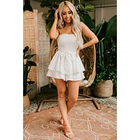 Carry Me Away Tiered Strapless Romper (White)