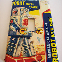 retro robot switch plate vintage 1950's tin toy kitsch single light switch cover