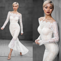 2017 women Elegant Fishtail Lace Prom Dress Evening Dress [10681936591]