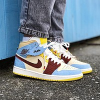 NIEK Air Jordan 1 new color matching men and women casual sneakers Shoes