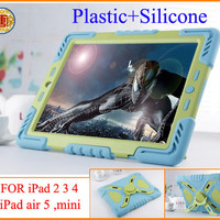 New Pepkoo Defender Military Spider Stand Water dirt shock Proof Case Cover Plastic + Silicone for ipad 2 3 4 iPad Air 5 iPad Mini Retina