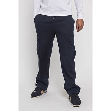 Victorious Men's Solid Fleece Heavyweight Cargo Sweat Pants