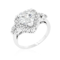 Heart Halo Engagement Ring, size : 06