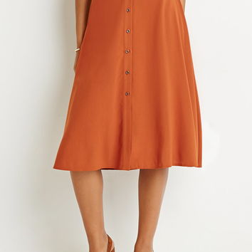 Button-Front A-Line Skirt