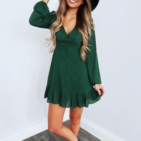 Play It Again Dress: Hunter Green/Black
