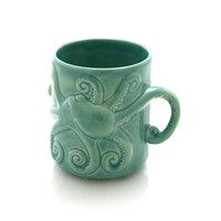 Octopus mug can be personalized, celedon with tentacles, kraken lover, gift for mermaid