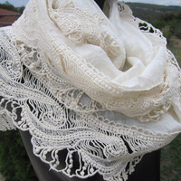 Ivory lace edge Silk wedding shawl scarf - women's scarves - haute couture Turkish mothers day gift