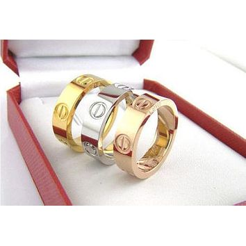"""Cartier"" Ring Women Men ring rhinestone ring on simplicity Silver"