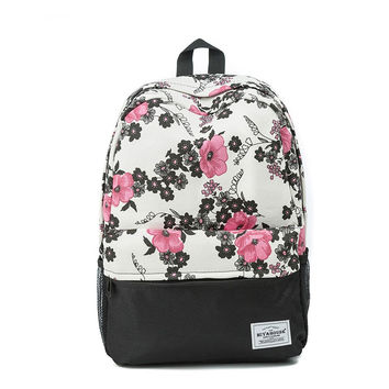 Floral Printed Canvas Backpack - ngBay.com