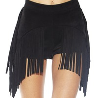 Festival Fringe High Waisted Suede Shorts, Boho Booty Short Bottoms (Black)