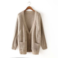 V-Neck Long-Sleeve Pocket Knitted Cardigan