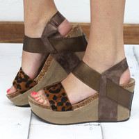 Hester Metallic Wedge Sandal {Leopard}
