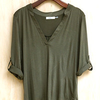 Live and Let Live High-Low Hem Shirt, Olive