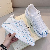 Alexander McQueen new cool colorful lace white shoes fashion men and women low-top sneakers shoes 1