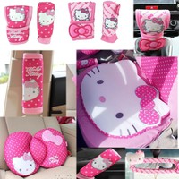 Hello Kitty Styling Car Accessories Car Interior Gears Covers seat belts CD cover Waist cushion car steering wheel cover cushion