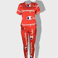 Champion Fashion New More Letter Print Top And Pants Two Piece Bikini Suit Red