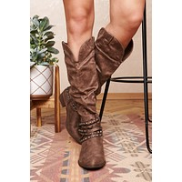 Call You Back Western Style Boots (Taupe)