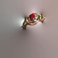 Gold Color Wire Wrapped Real Trillion Shaped Red Garnet Ring Size 7 Free Shipping