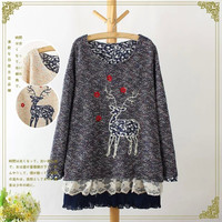 Deer Embroidered Lace Layer Knitted Sweater