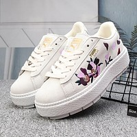 PUMA Women Flower Fashion Embroidery Flats Shoes