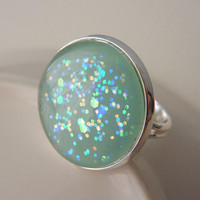 Adjustable Ring, Mint Green, Holographic Glitter