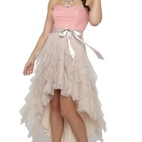Two Tone Strapless High Low Dress with Tendril Skirt