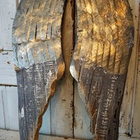 Large wood angel wings wall hanging metal accented angel wing set home decor anita spero design