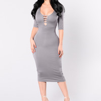 Calm Cool And Collected Dress - Purple/Taupe