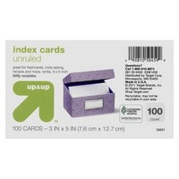 """up & up® - 100ct Un-Ruled Index Cards 3""""X5"""" - White"""