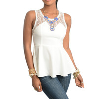 Lace Peplum Sheer Top in Off White