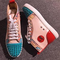 Cl Christian Louboutin Lou Spikes Style #2216 Sneakers Fashion Shoes
